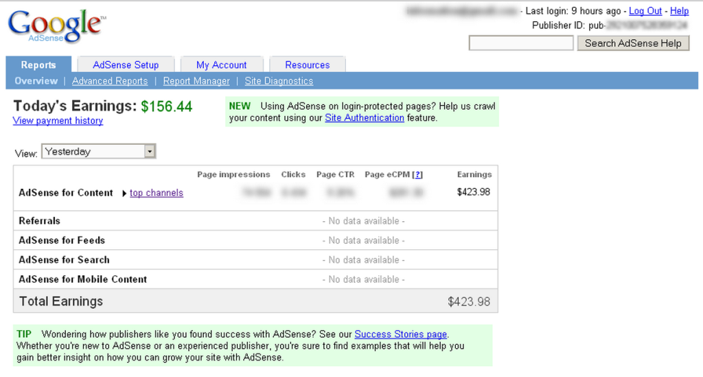 Adsense earnings from our super techie Jake